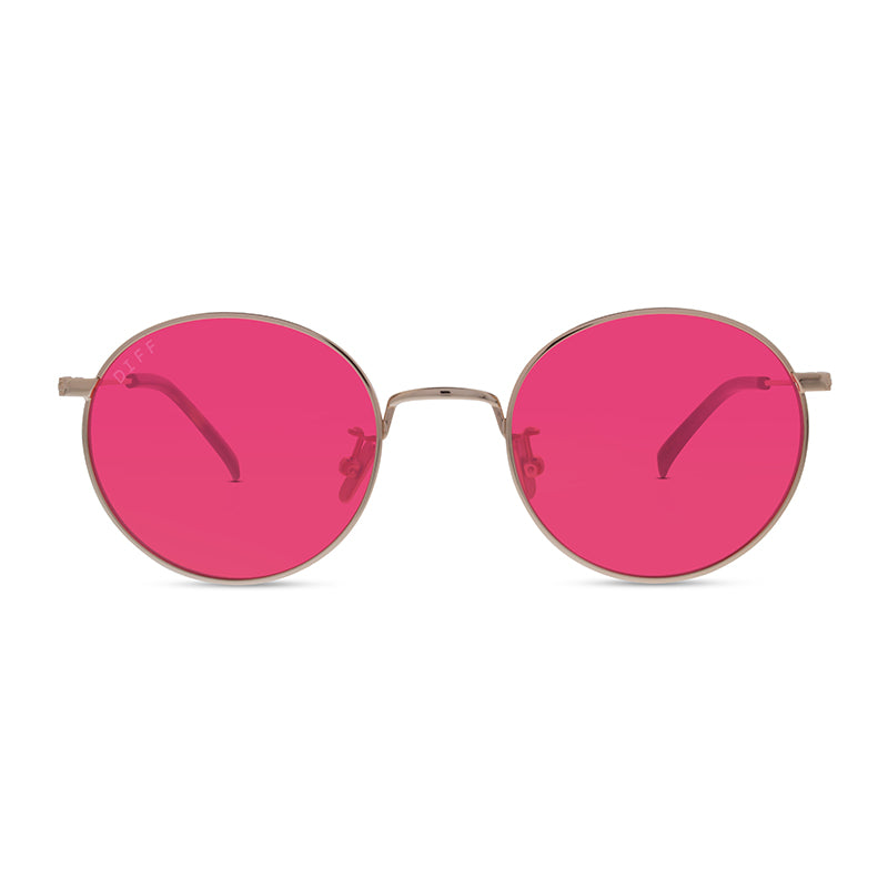 Daisy Gold Frame Round Sunglasses With Red Lenses