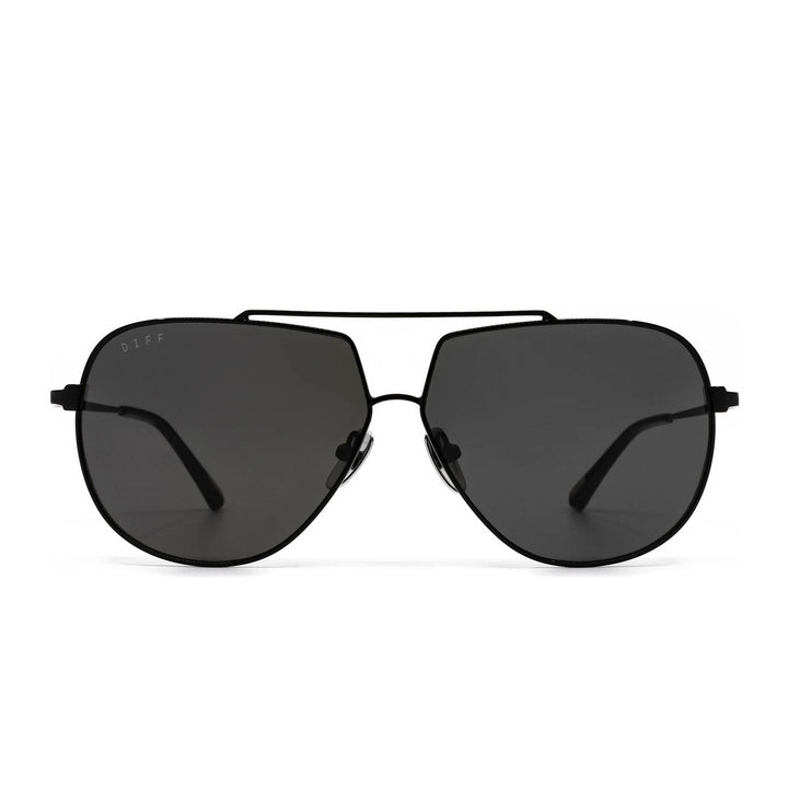 Denver sunglasses with black frame and grey lens- front view