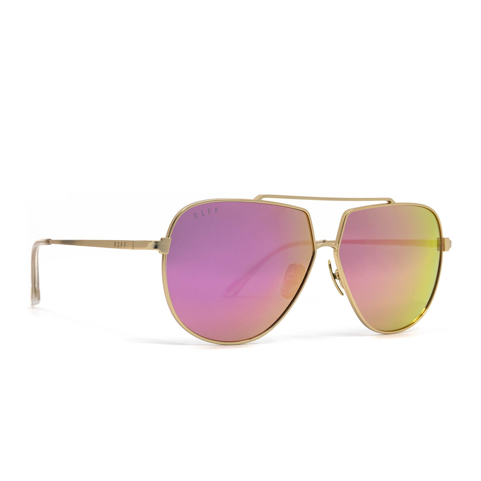 Denver sunglasses with champagne frame and pink mirror lens- angle view