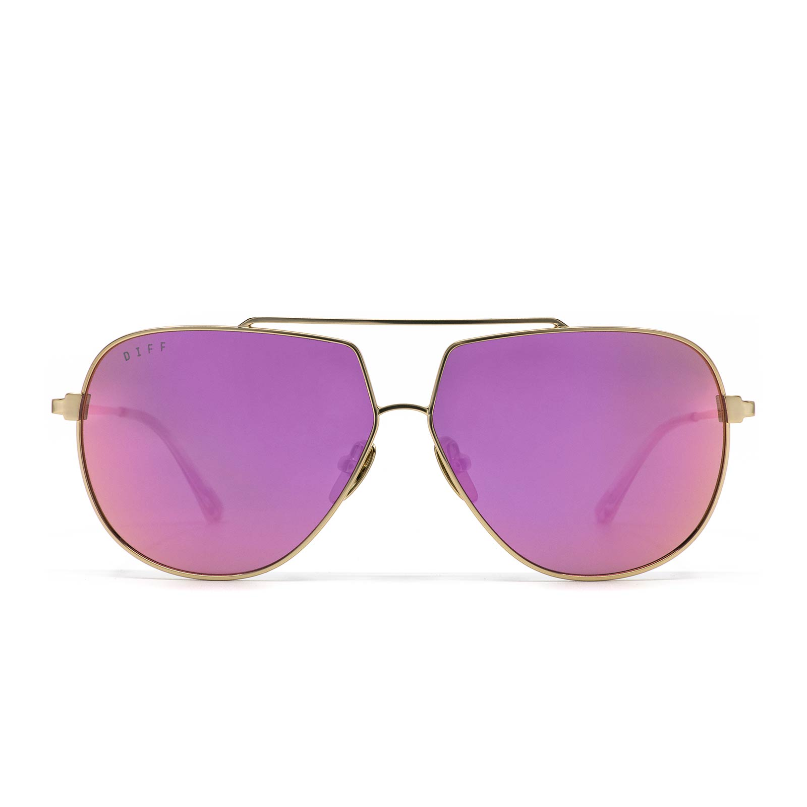 Denver sunglasses with champagne frame and pink mirror lens- front view