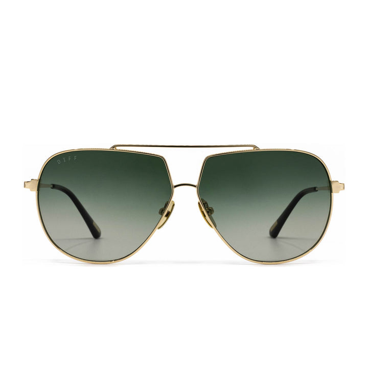 Denver sunglasses with gold frame and G15 gradient lens- front view