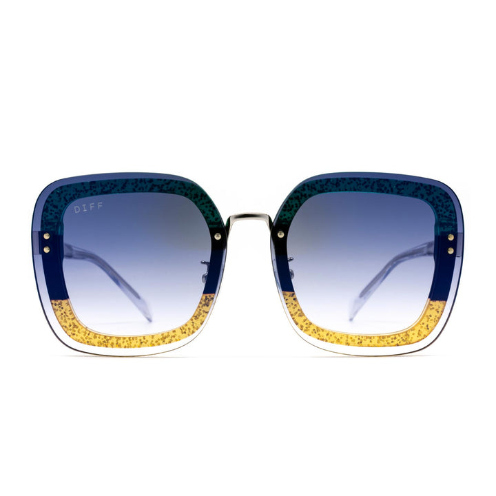 Gwen sunglasses with silver and gold frame and blue lens-front view
