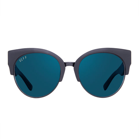 Round Cat Eye Sunglasses - Stella Black Frame