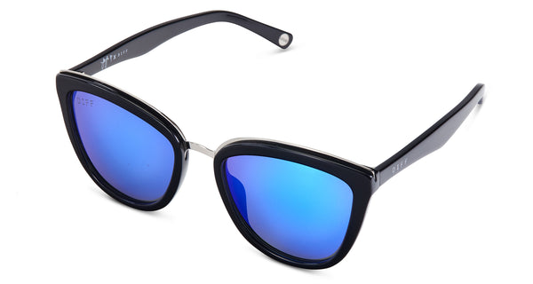JOJO EDITION - BLACK FRAME - BLUE MIRROR LENS - DIFF Eyewear  - 3