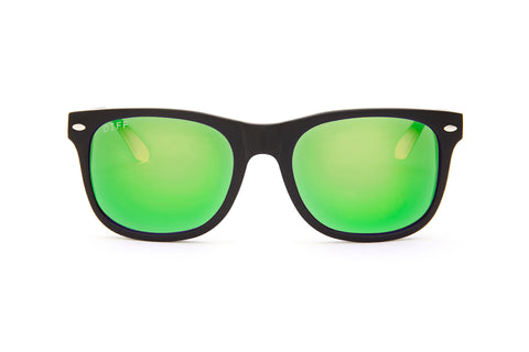 KOTA - BLACK FRAME - GREEN MIRROR LENS