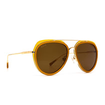 Leighton sunglasses with dark ginger frame and brown lens- angle view
