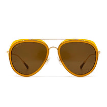 Leighton sunglasses with dark ginger frame and brown lens- front view