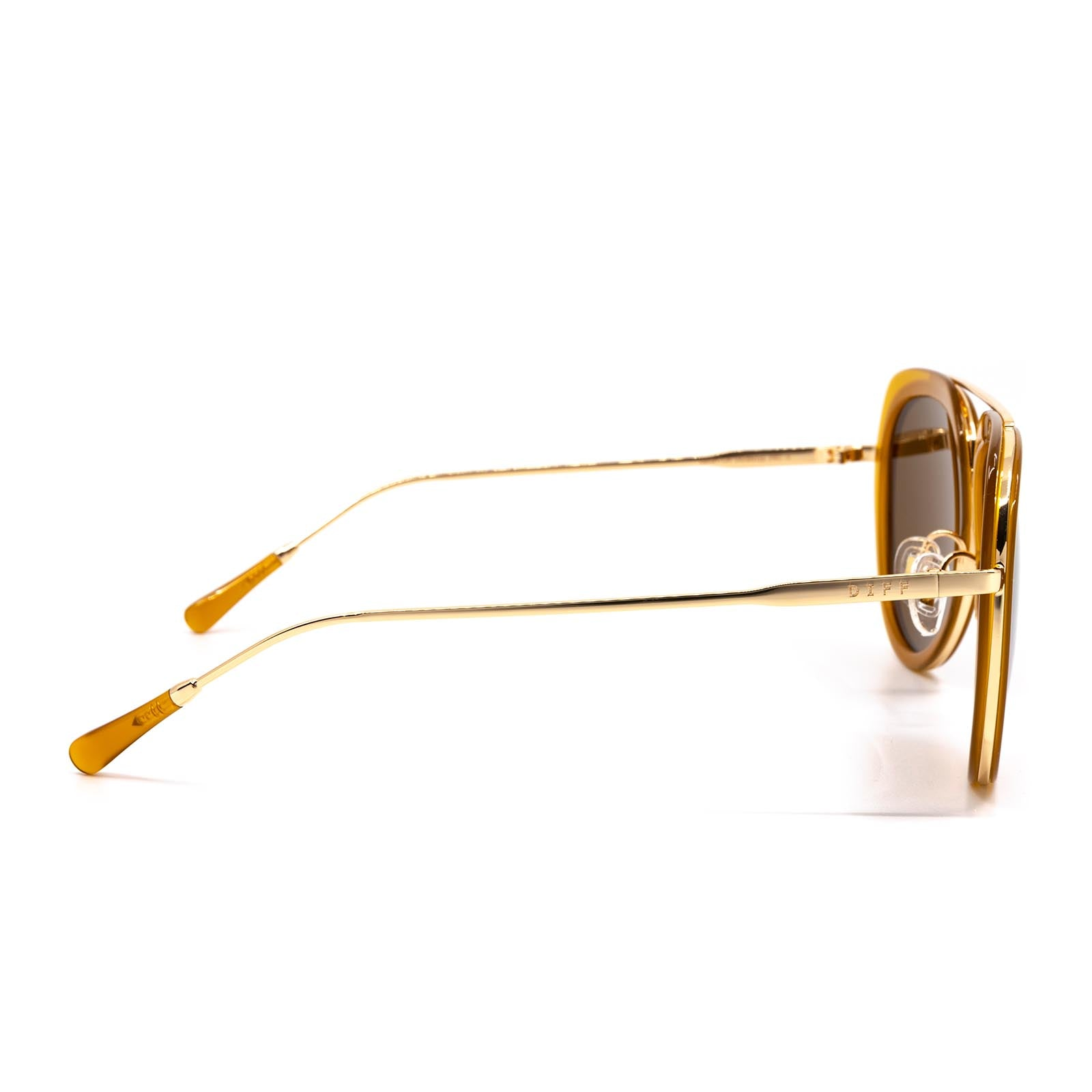Leighton sunglasses with dark ginger frame and brown lens- side view