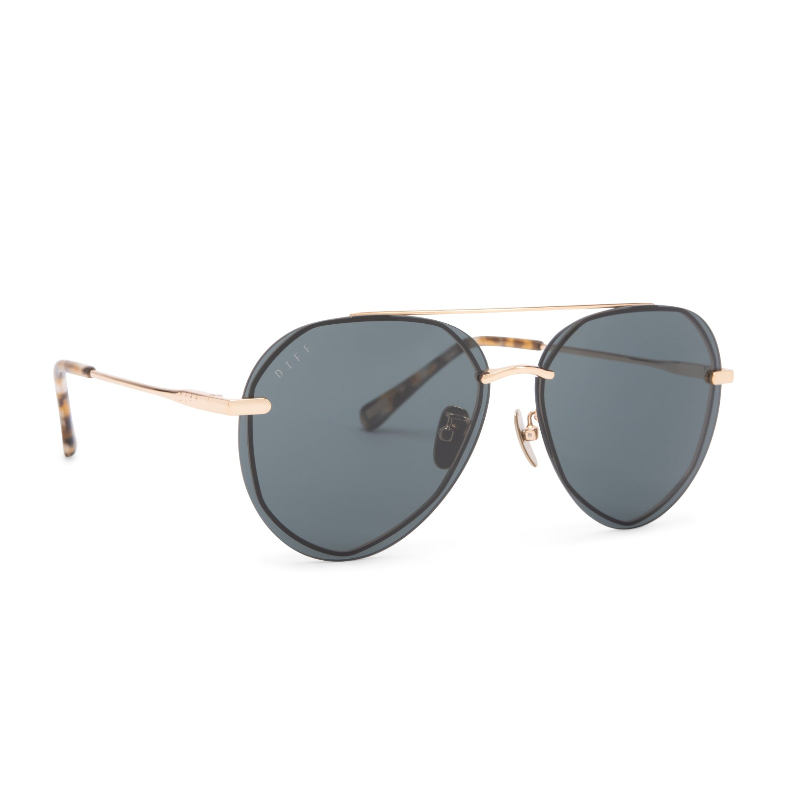 Lenox sunglasses with gold frames and G15 polarized lens angle view