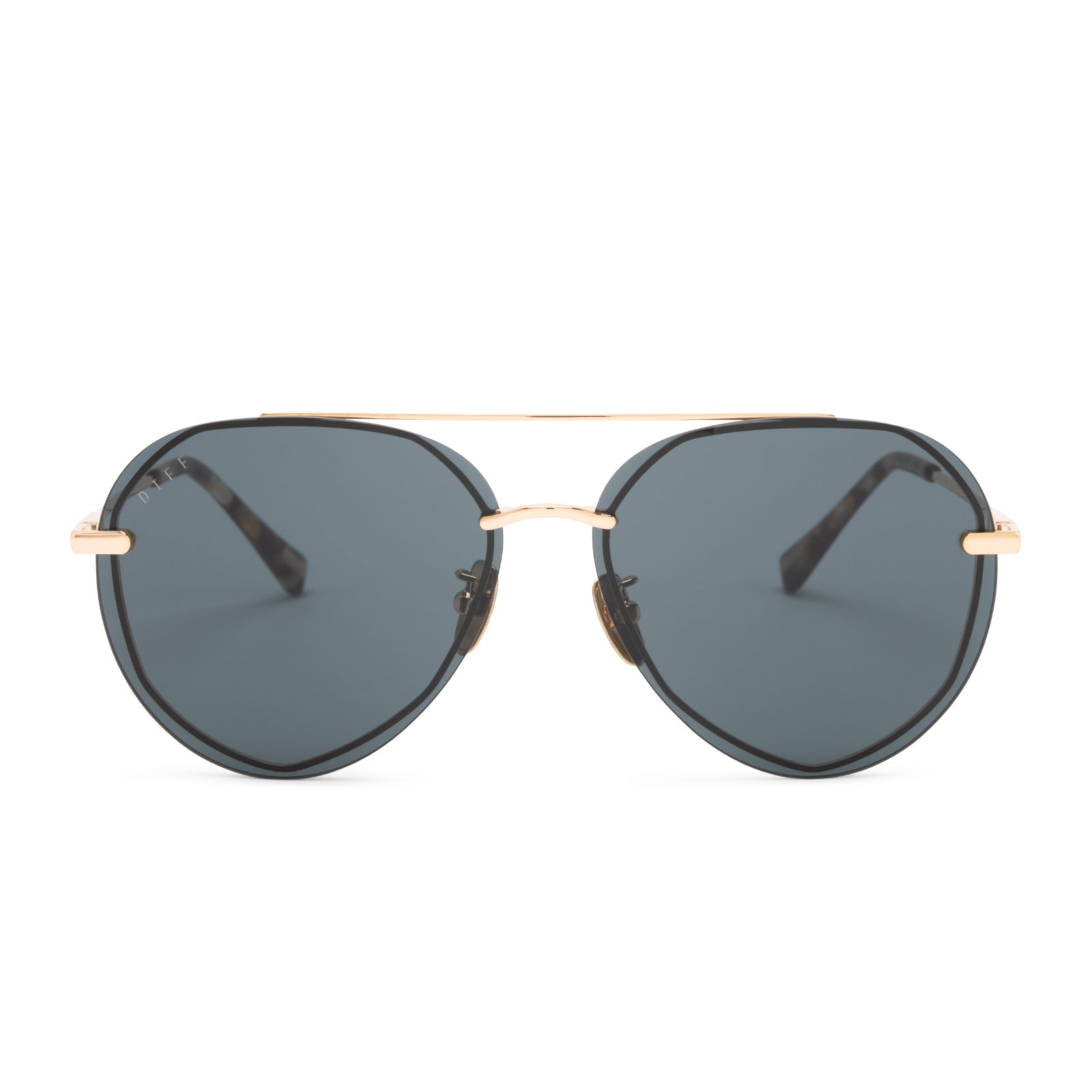 Lenox sunglasses with gold frames and G15 polarized lens front view