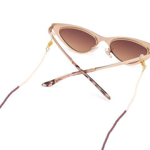 Tribe Alive Multi Beaded Sunglass Chain - Gold / Cream / Berry