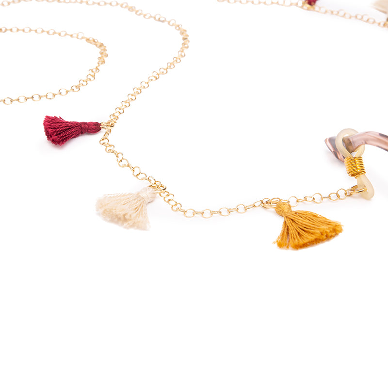 Tribe Alive Multi Tassel Chain - Marigold / Berry / Cream