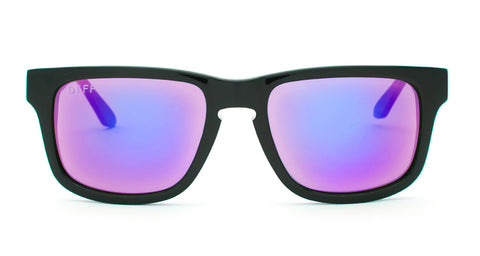 RILEY - BLACK FRAME - PURPLE MIRROR LENS - DIFF Eyewear  - 1