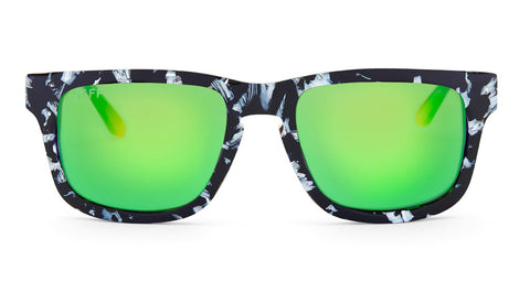 RILEY - BLACK / WHITE FRAME - GREEN MIRROR LENS - DIFF Eyewear  - 1