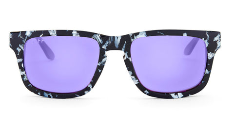 RILEY - BLACK / WHITE FRAME - PURPLE COLOR THERAPY LENS - DIFF Eyewear  - 1