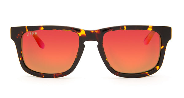 RILEY - TORTOISE FRAME - RED MIRROR LENS - DIFF Eyewear