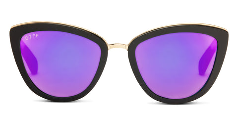 ROSE - MATTE BLACK - PURPLE MIRROR LENS - DIFF Eyewear  - 1