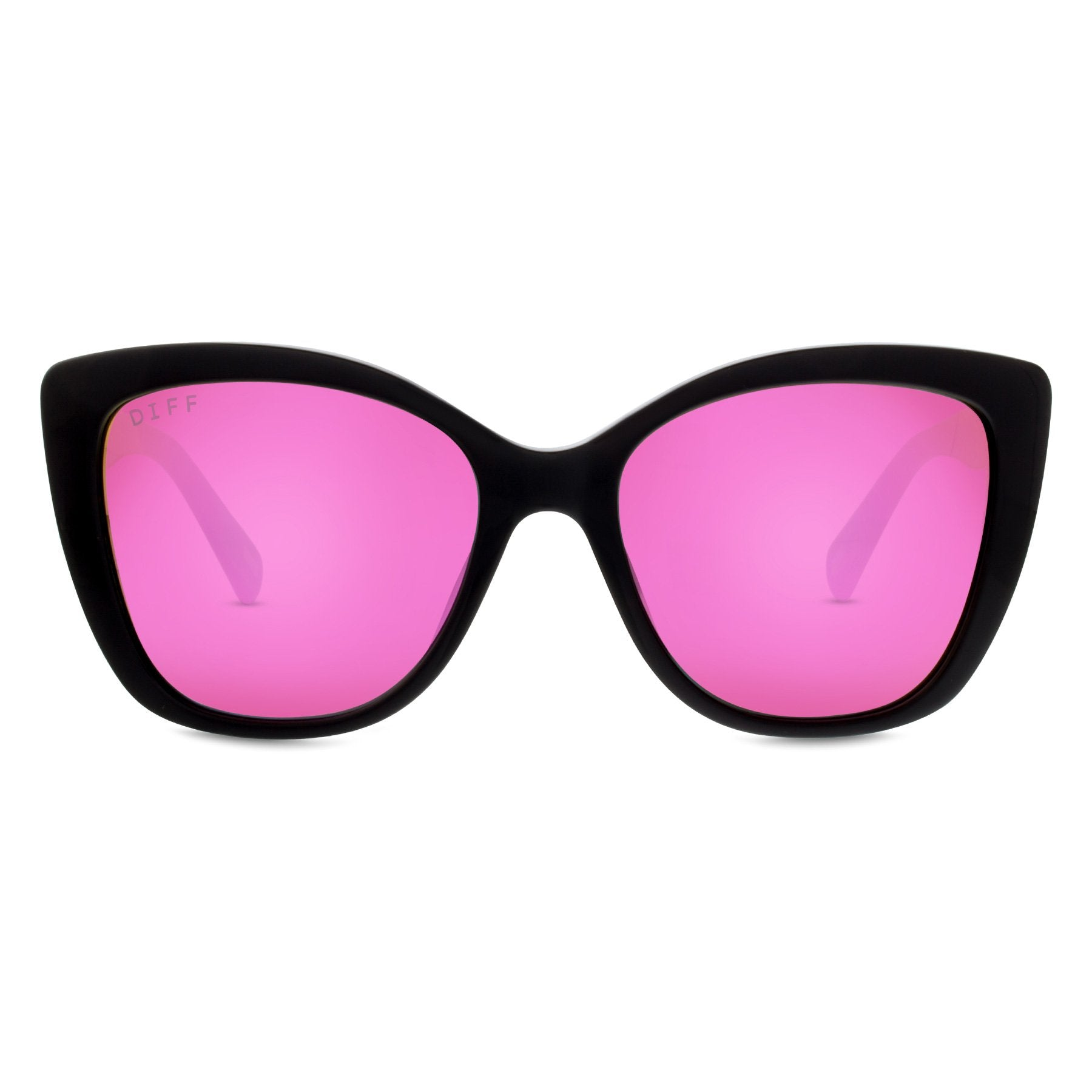 Oversized cat eye sunglasses ruby diff eyewear black frames pink lenses