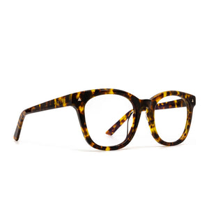 Ryder prescription glasses with amber tortoise frames and clear lens angle view