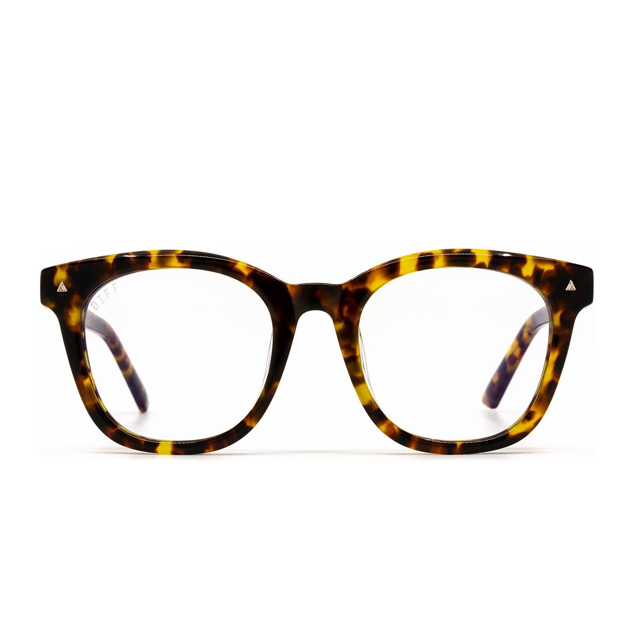 Ryder prescription glasses with amber tortoise frames and clear lens front view