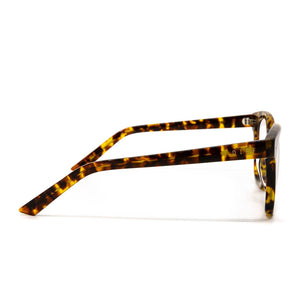 Ryder prescription glasses with amber tortoise frames and clear lens side view