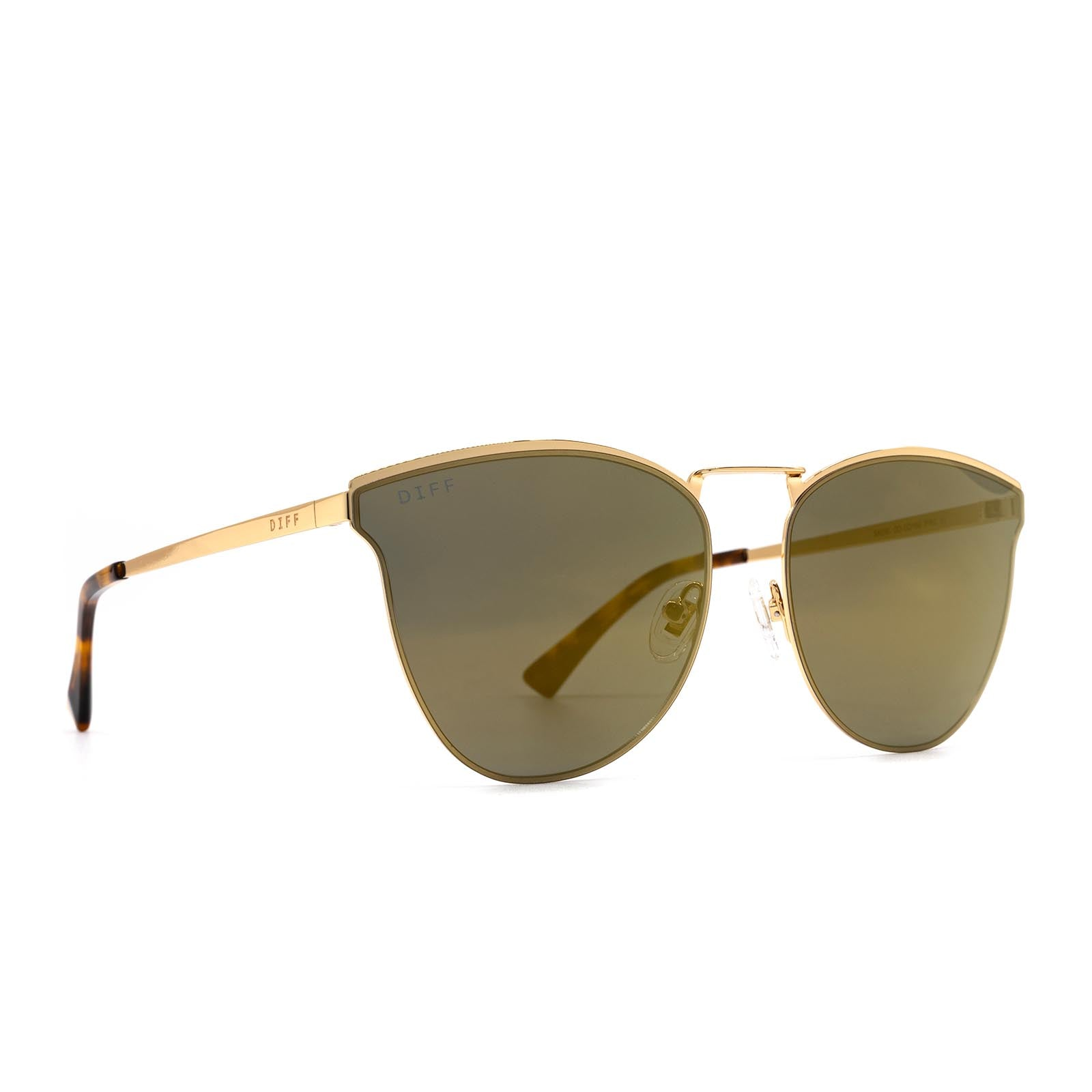 Sadie sunglasses with gold frame and gold lens- angle view