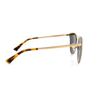 Sadie sunglasses with gold frame and gold lens- side view