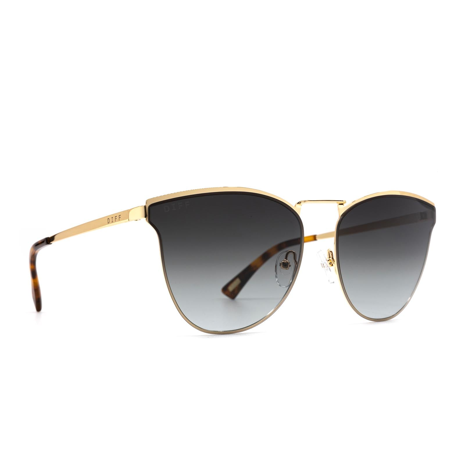 Sadie sunglasses with gold frame and grey lens- angle view