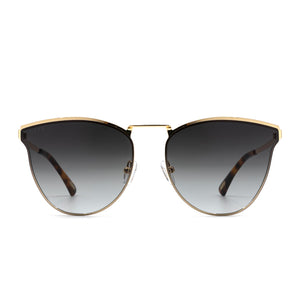 Sadie sunglasses with gold frame and grey lens- front view