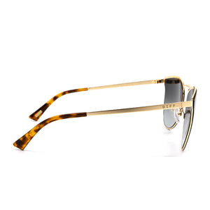 Sadie sunglasses with gold frame and grey lens- side view
