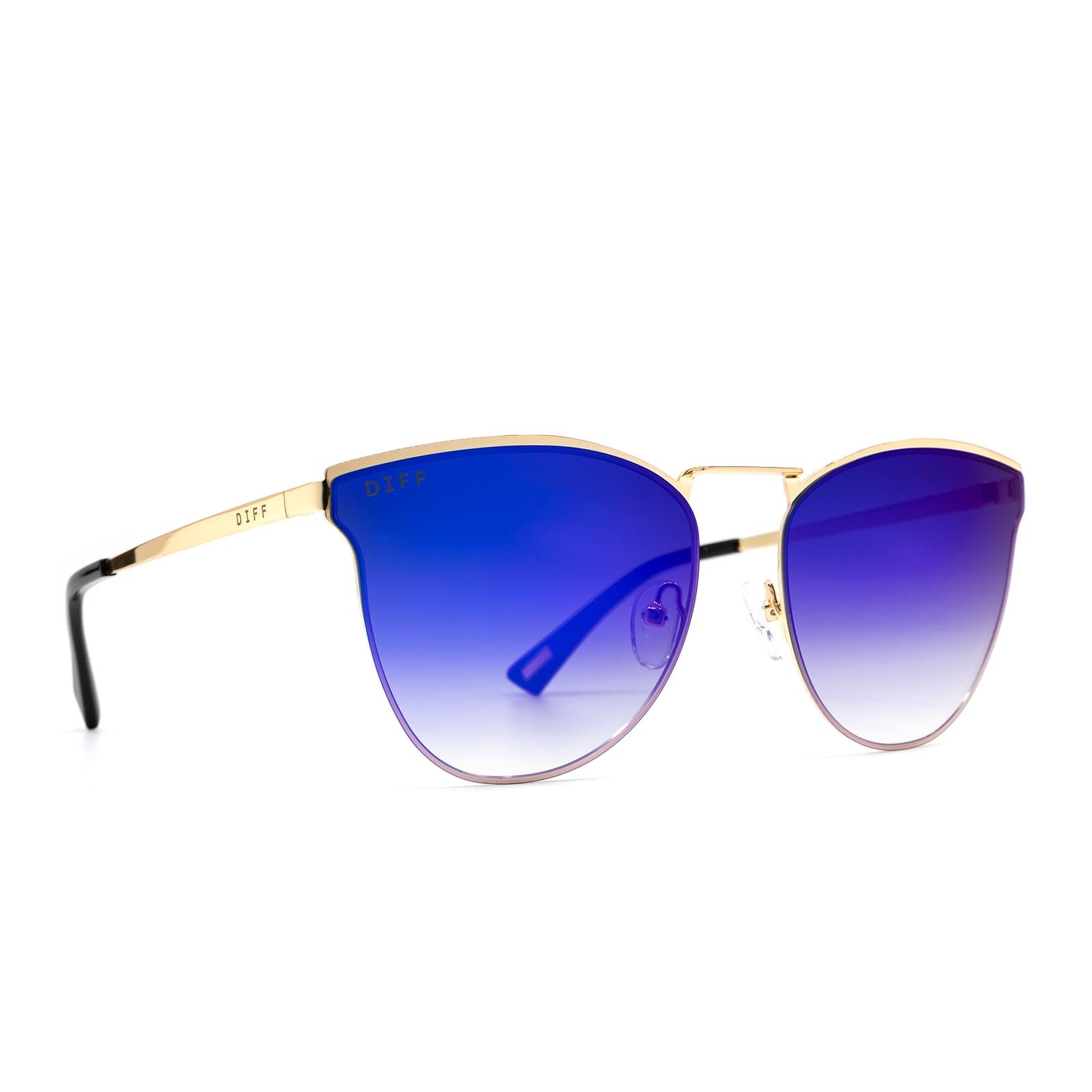 Sadie sunglasses with gold frame and purple lens- angle view
