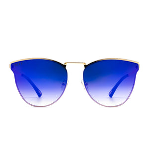 Sadie sunglasses with gold frame and purple lens- front view
