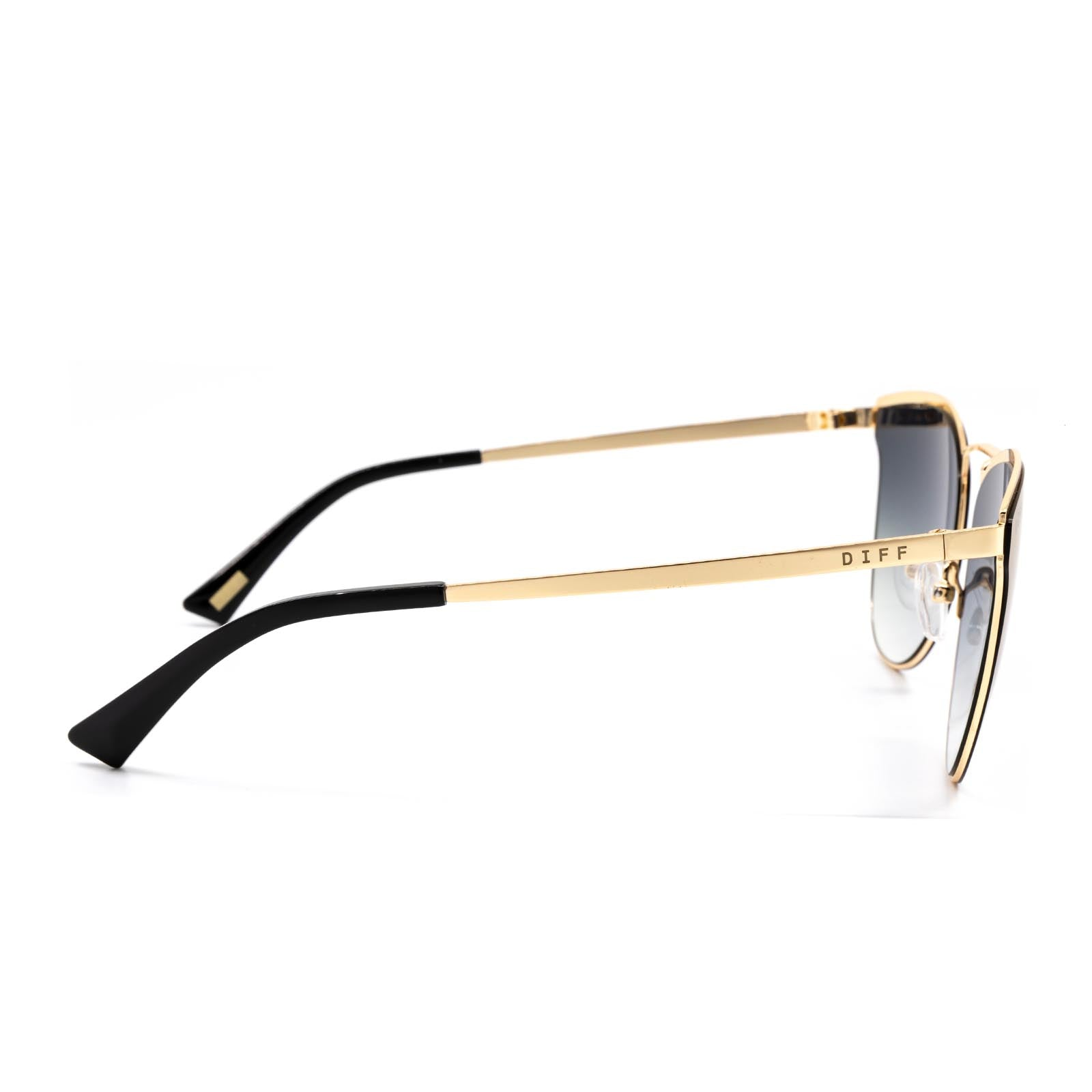 Sadie sunglasses with gold frame and purple lens- side view