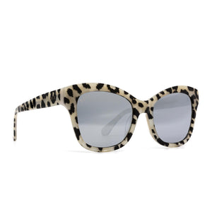 Skylar sunglasses with clear leopard frame and grey lens- angle view