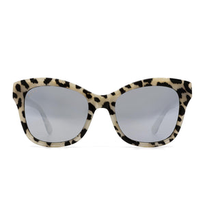 Skylar sunglasses with clear leopard frame and grey lens- front view