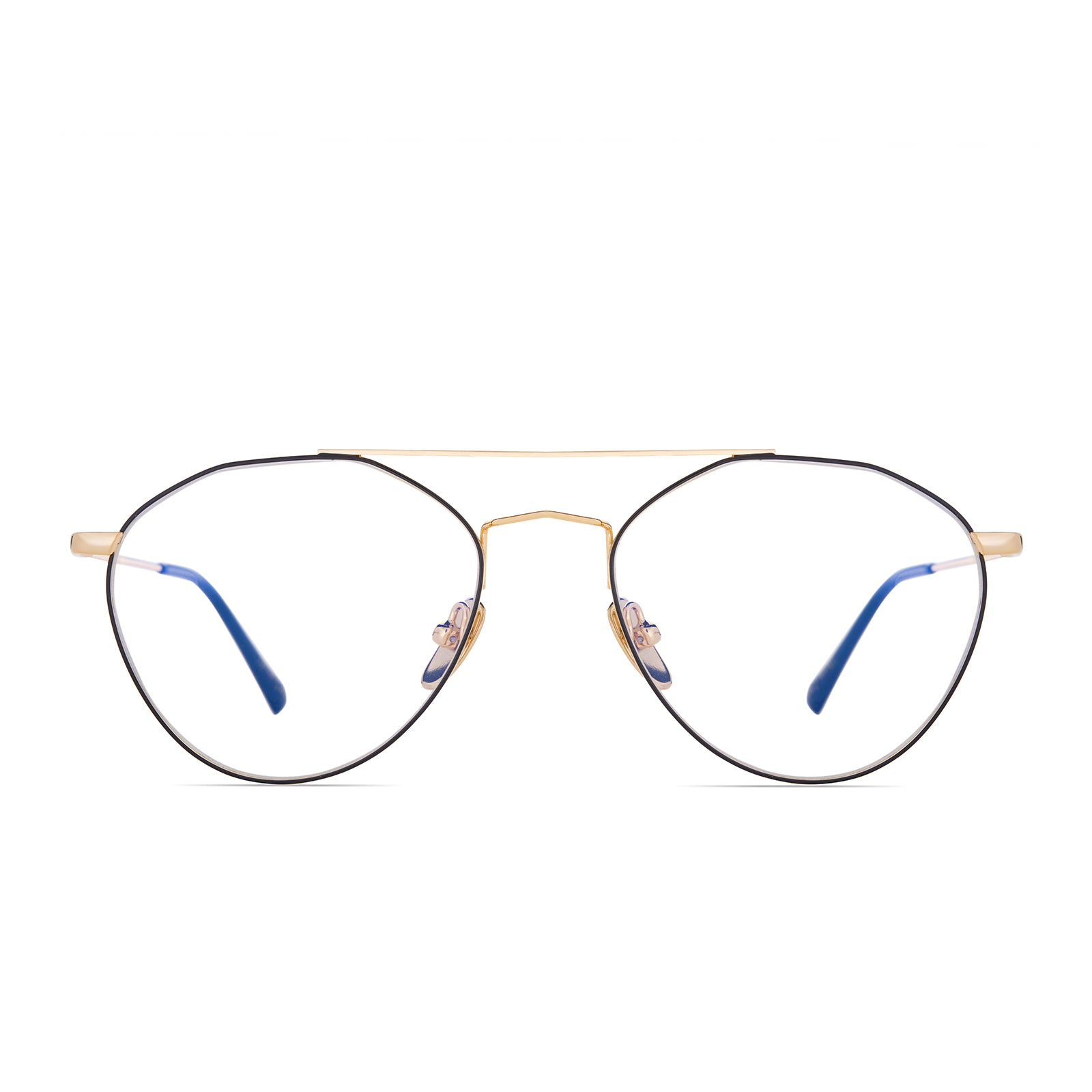 Hannah Godwin Sunday Gold and Black Frame with Blue Light Blocking technology front