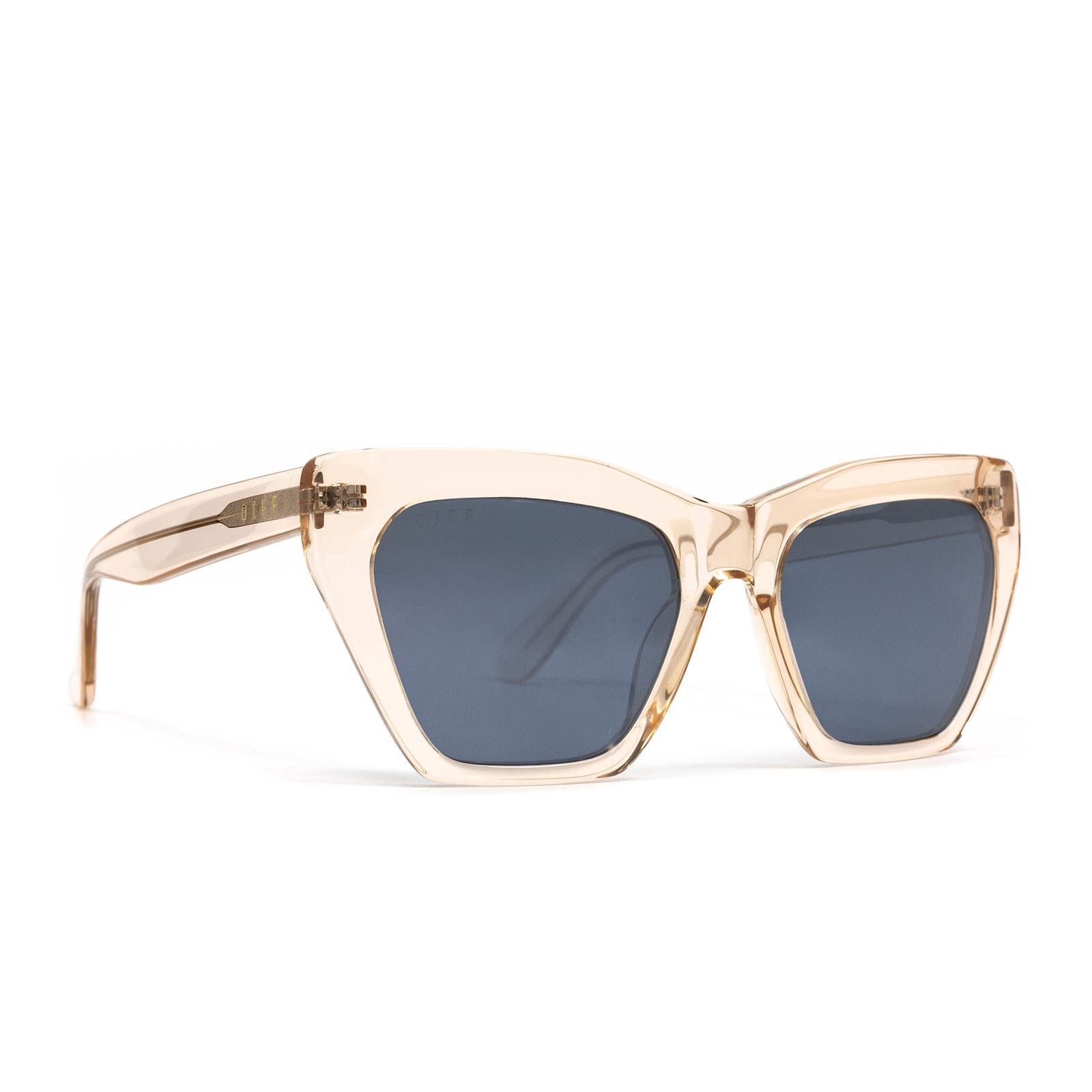 Wren sunglasses with blush crystal frame and grey mirror lens- angle view