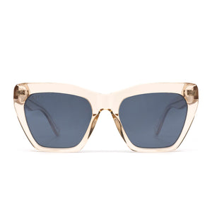 Wren sunglasses with blush crystal frame and grey mirror lens- front view