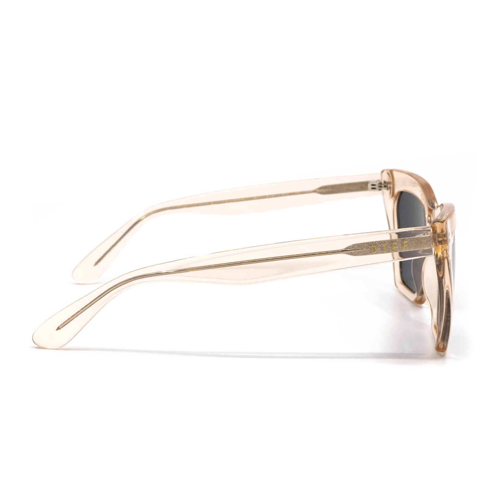Wren sunglasses with blush crystal frame and grey mirror lens- side view