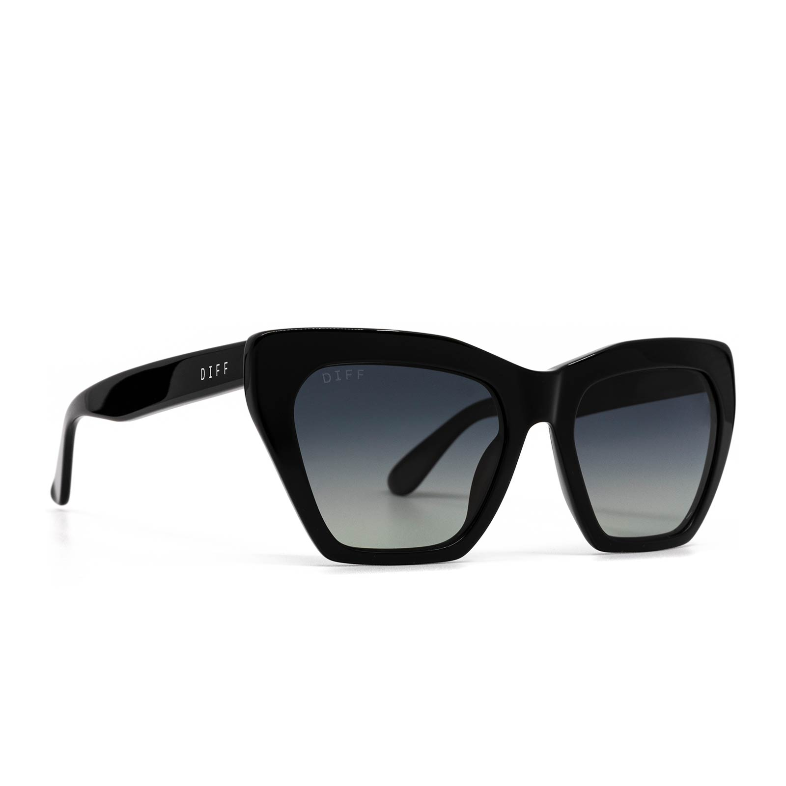 Wren sunglasses with black frame and grey gradient polarized lens- angle view