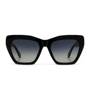 Wren sunglasses with black frame and grey gradient polarized lens- front view
