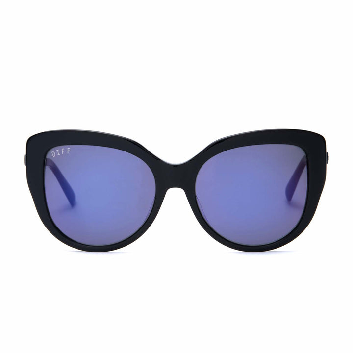 Avery sunglasses with black frames and purple mirror polarized lens front view