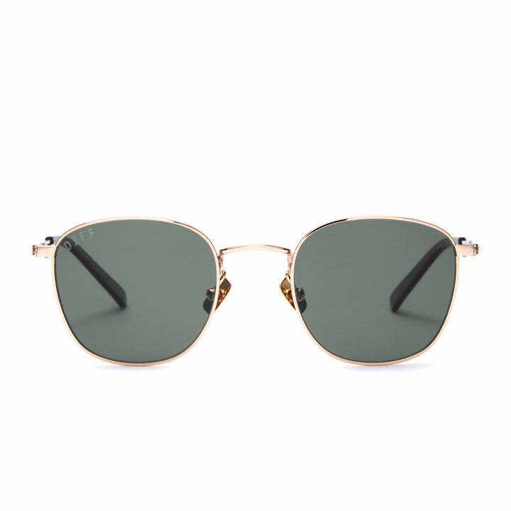 Axel sunglasses with gold frames and G15 lens front view