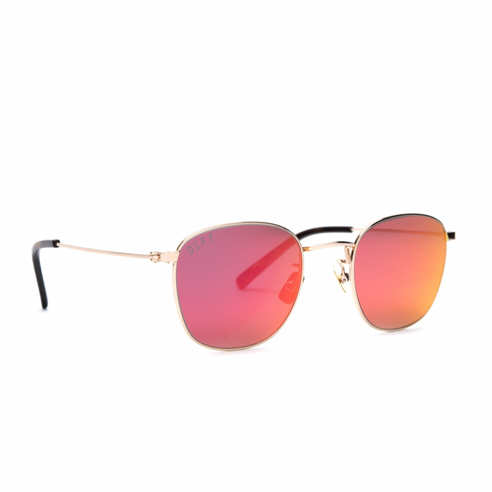 Axel sunglasses with gold frames and red mirror lens angle view