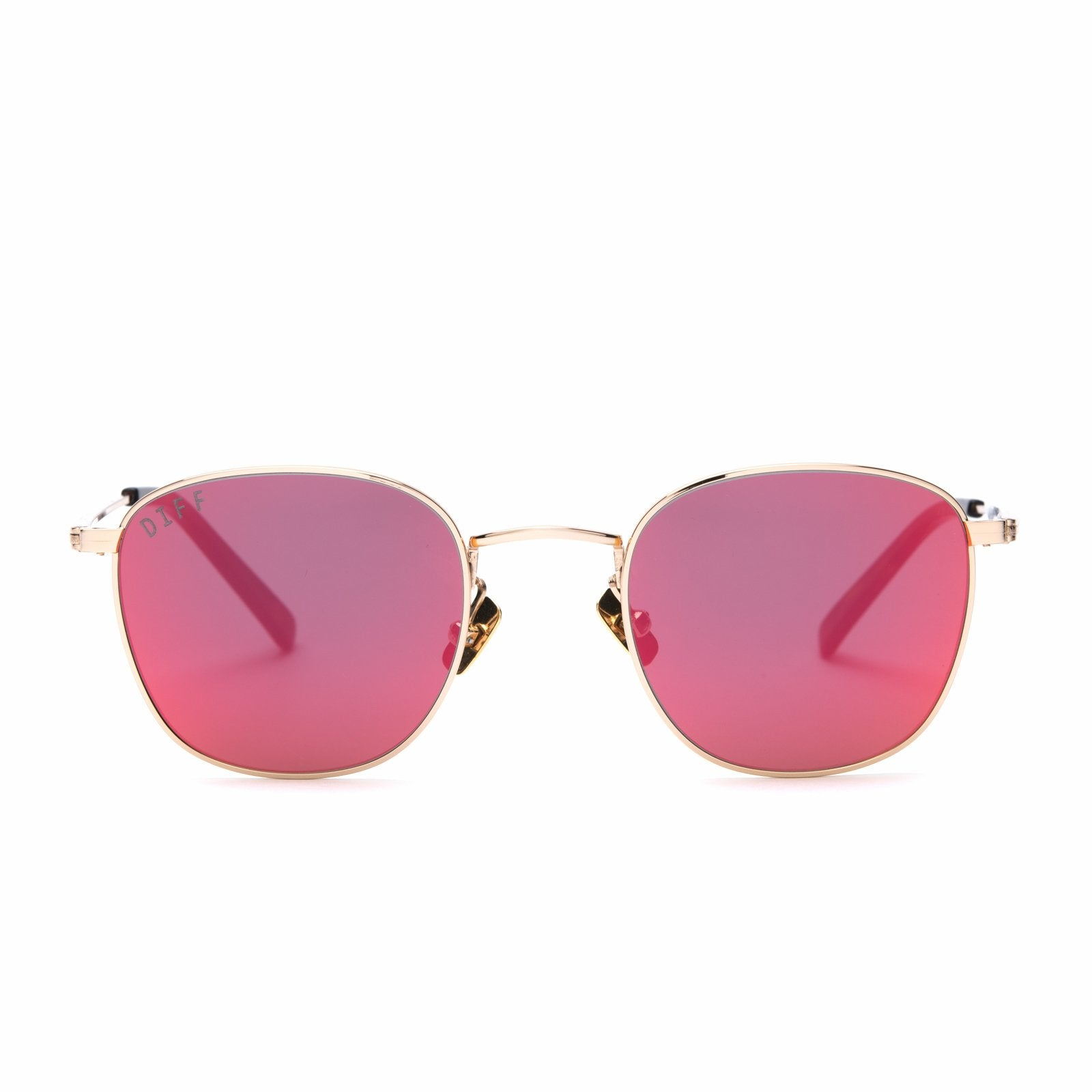 Axel sunglasses with gold frames and red mirror lens front view