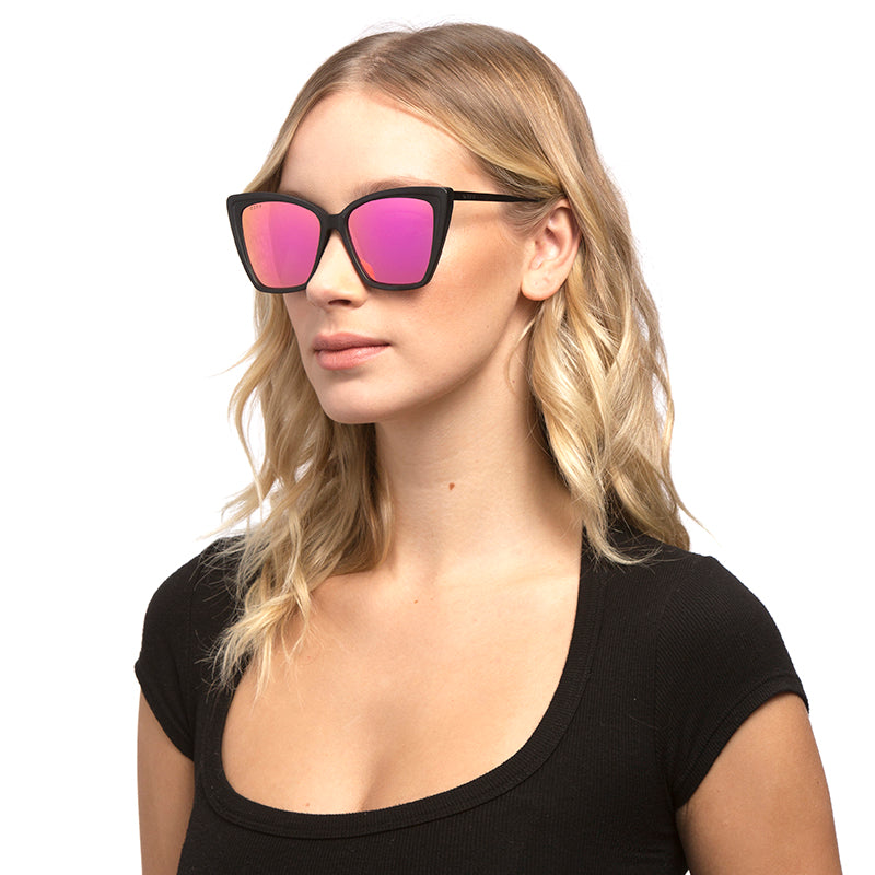becky II matte black pink mirror angle on female