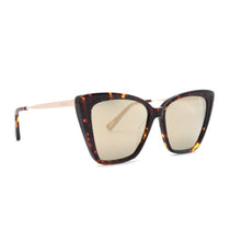 Becky II sunglasses with dark tortoise frames and gold mirror polarized lens angle view