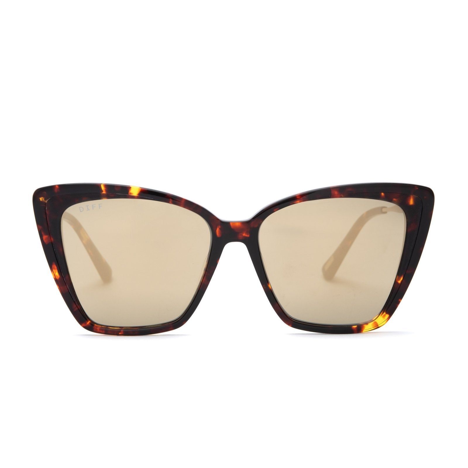 Becky II sunglasses with dark tortoise frames and gold mirror polarized lens front view