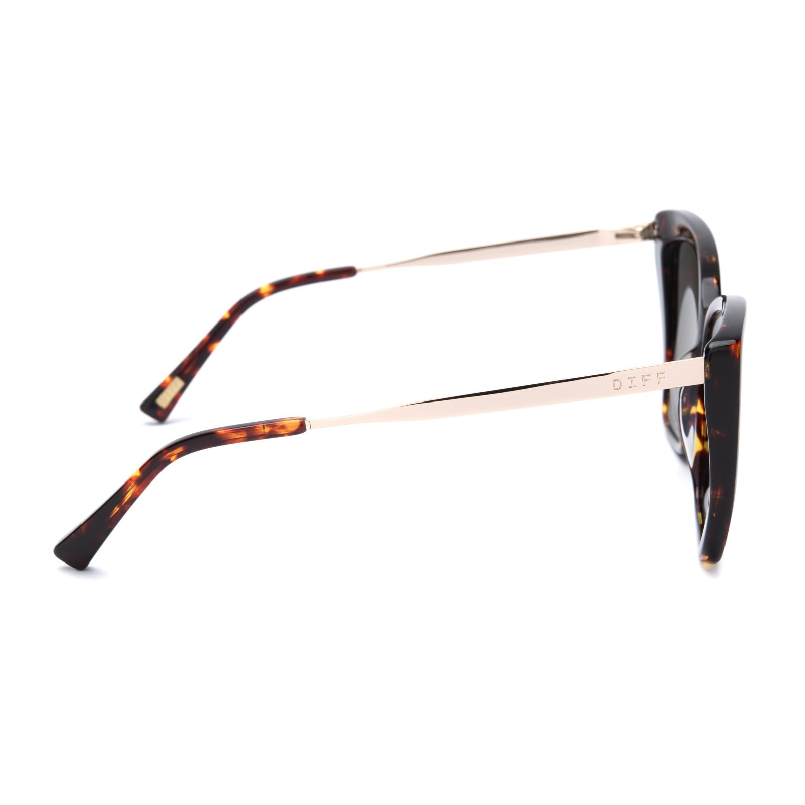 Becky II sunglasses with dark tortoise frames and gold mirror polarized lens side view