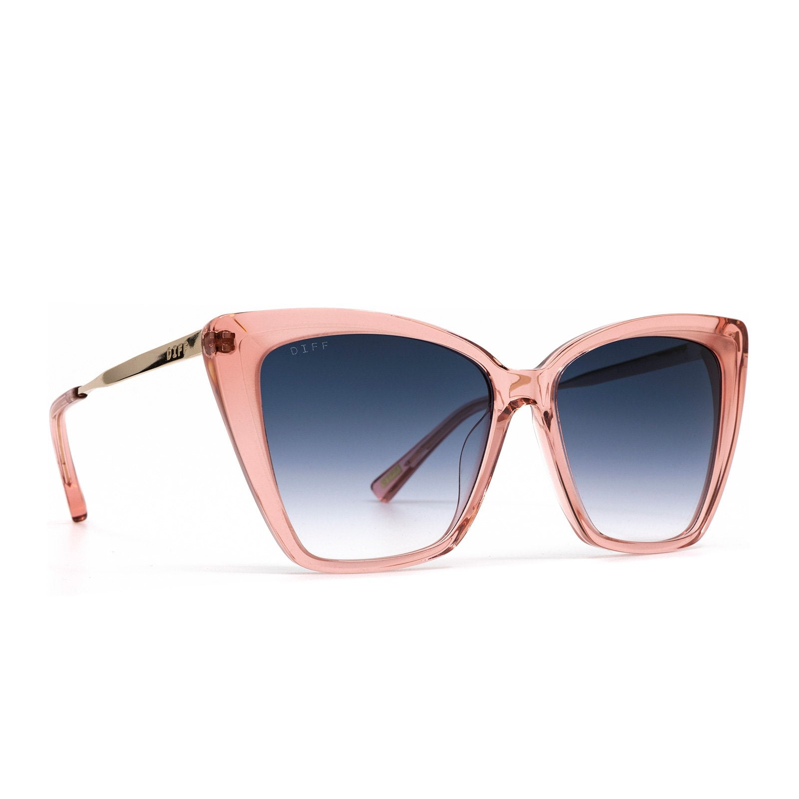BECKY II sunglasses with light pink crystal frames and blu gradient lens  angle view